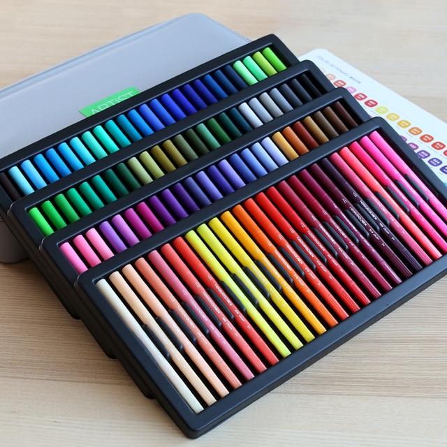 KACO أقلام ألوان مائية مزدوجة الأطراف فرشاة غير سامة وقلم سكريبتلاينر للرسم طقم هدايا 100 لون مع حقيبة يد