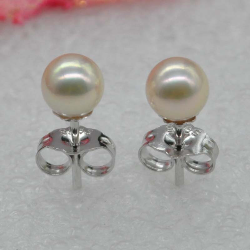 sterling silver AAA 5mm round real akoya pearl studs earring