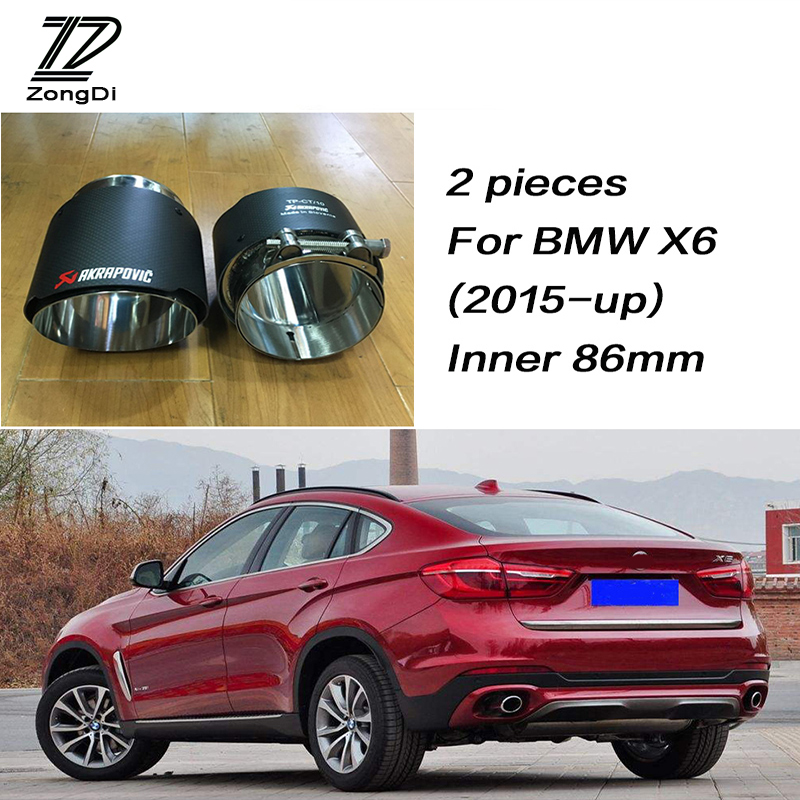 ZD For BMW X5 E53 E70 X6 E71 F16 X1 F48 2015 2016 2017 M Performance Car Carbon Fiber Exhaust Tips Muffler Pipe Akrapovic Covers цены