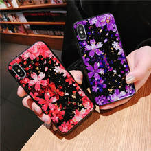 Luxury Gold Foil Phone Case For iPhone XS MAX XR Soft Silicone Cover X 8 7 6 6S Plus Bling Glitter Flower