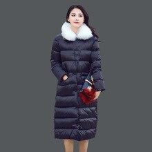Женщины Зимняя Куртка Хлопок 2015 Европейских И Американских Роскошных Меховым Воротником Длинный Тонкий Куртка Женщин Утолщение Пальто