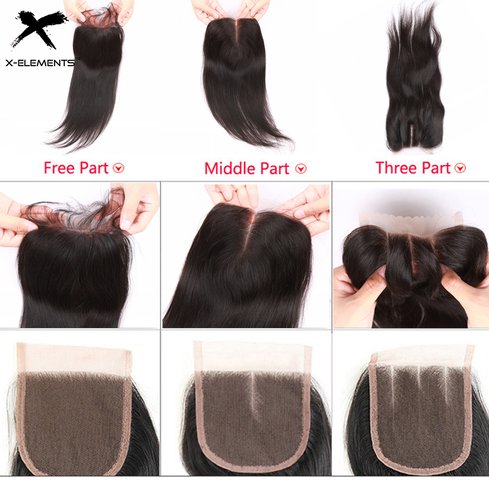 X-Elements Hair 4 * 4 Closure 1 Piece Extensions Mänsklig Straight - Mänskligt hår (svart) - Foto 5