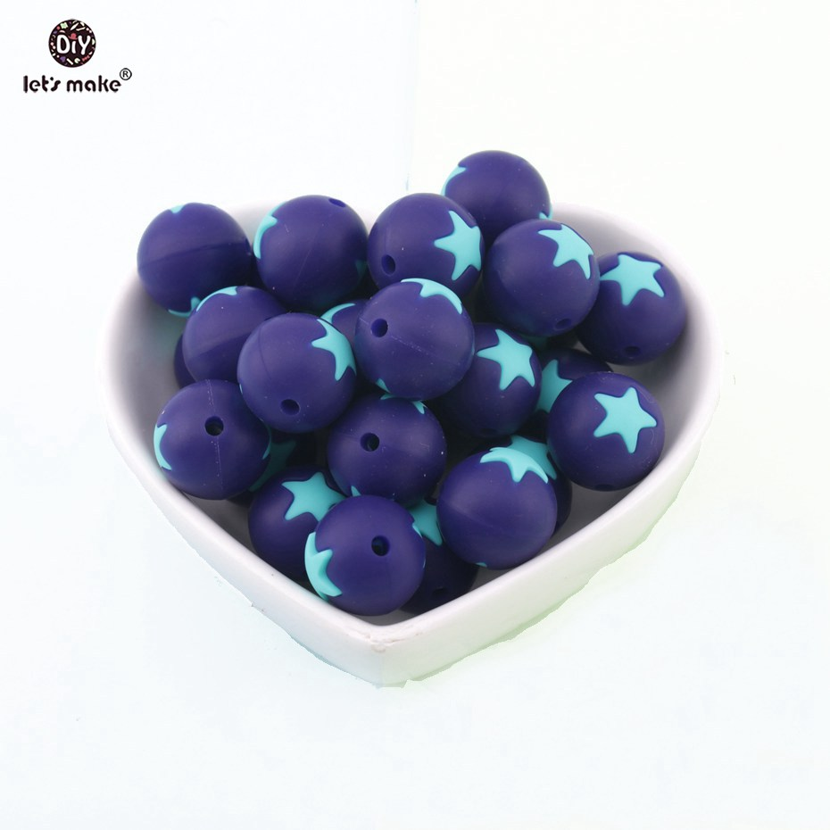 5PC Star Inlay Round Silicone Beads For Baby Teether Nursing Chew Pacifier Chain