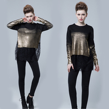2016 Women Sweater With Lace Bottom Long Sleeve Pullover Sweater gilding Gold/Silver Stam Sweater Lace and Knitting Layered Tops