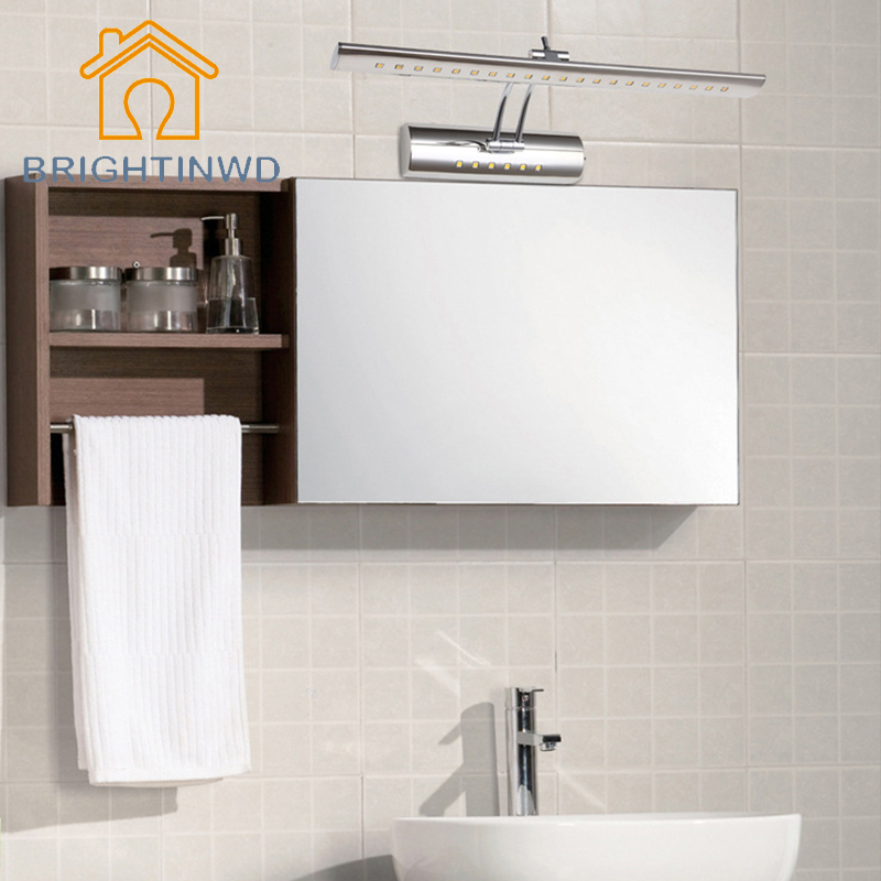 LED Mirror Front Light 9W 7W 5W SMD 5050 Bathroom Modern Popular Bath Wall Lamp Stainless Steel White/Warm White Color dvolador luxury crystal led mirror front light 10w 15w ac110 220v bathroom waterproof anti fog led stainless steel wall light