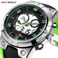 KAT WACH Men's LED Digital Watch Quartz Clock Silicone Waterproof Shockproof Analog Military Sports Watches Relogio Masculino