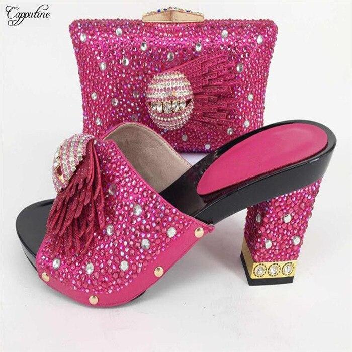 Довольно Вечерние комплект цвета фуксии Подходящие туфли и сумочка для свадьбы 227-6 много цветов распродажа