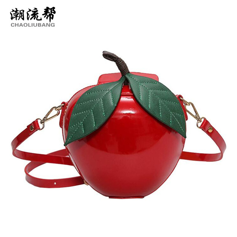 CHAOLIUBANG funny bag woman leather handbags red green apple shaped brand design cute bag mini crossbody
