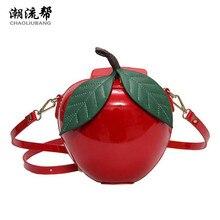 CHAOLIUBANG drôle sac femme sacs à main en cuir rouge/vert apple en forme de marque design mignon sac mini bandoulière sacs personnalité sac un