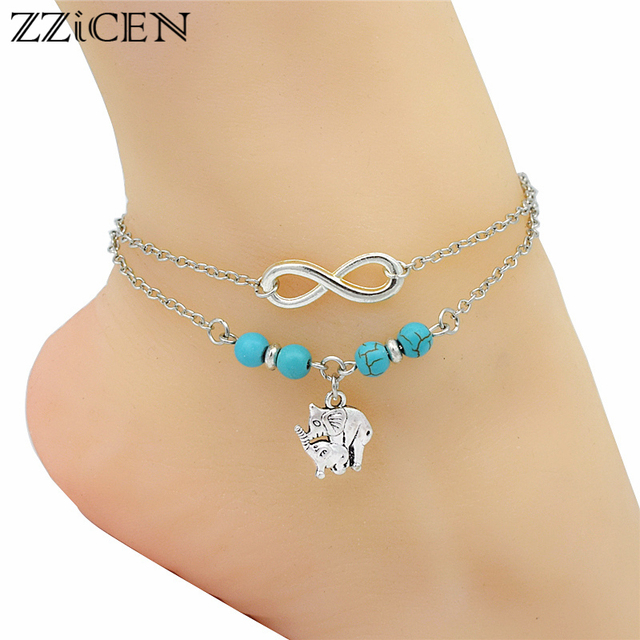 Fashion Boho Women Y Silver Infinity Charm Cute Animal Mother Baby Elephant Pendant Ankle Bracelets Barefoot