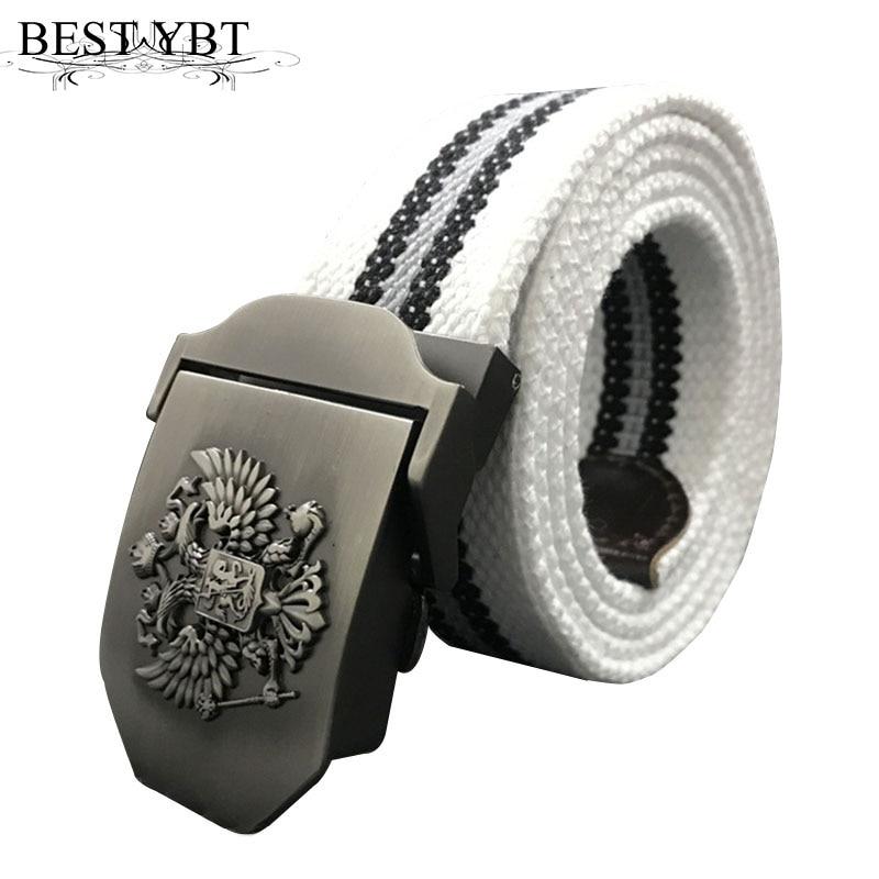 Best YBT Russian National Emblem Canvas Tactical Belt High Quality Military Belts For Mens & Women Luxury Patriot Jeans Belt