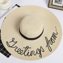 Beach Hat  Chapeau Femme Ete vLetter Printed Wide Brim Sombrero Mujer All-match Personality Sunscreen Breathable