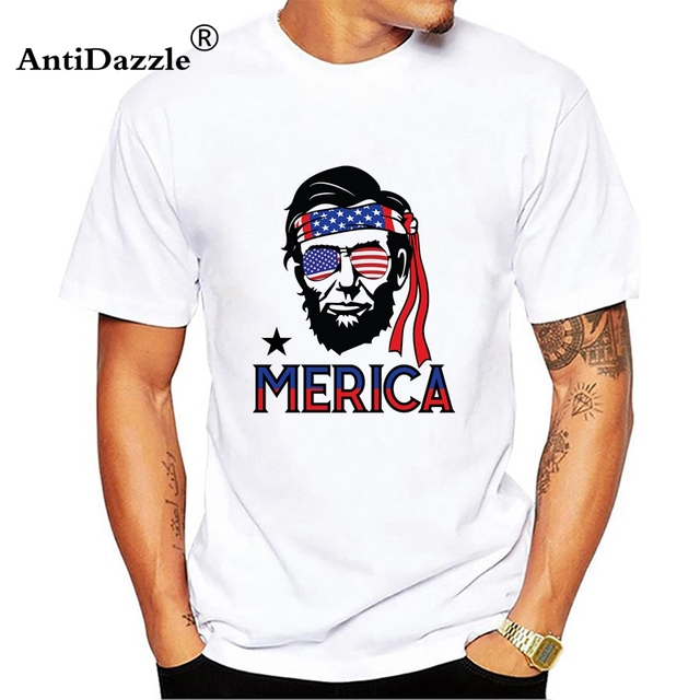 75a11579 Abe Lincoln Merica Men Unisex Tees T Shirts 4th Of July patriotic patriotism  united states july 4th usa america Casual Fashion