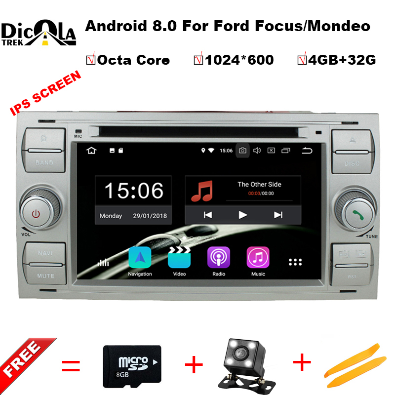 2din Android 8.0 DAB+Car DVD Player In Dash For Ford Transit Focus Connect S-MAX Kuga Mondeo With QuadCore Wifi 4G GPS Bluetooth joyous 7 car dvd player w analog tv gps for ford focus s amx c max fiesta transit kuga 2004 2008