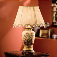 New Chinese Rural Style Handpainted Ceramic Table Lamps Quaint Fabric Art E27 LED Lamp For Bookstore