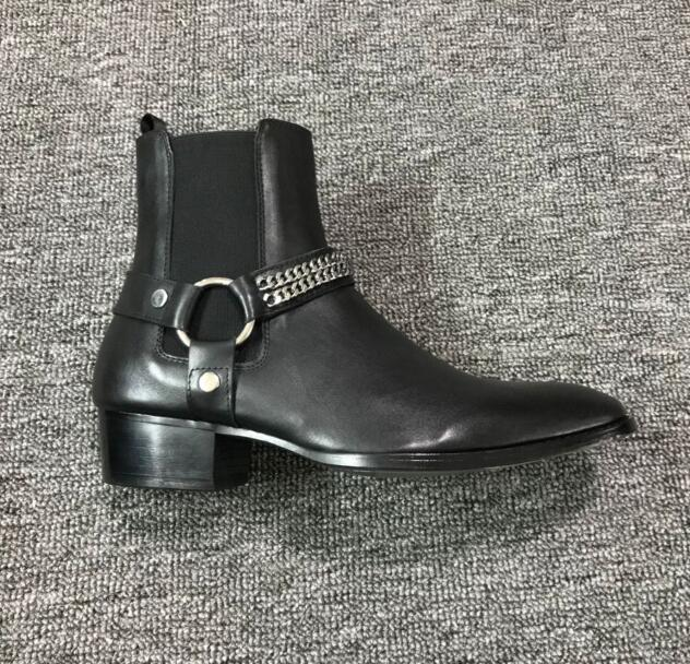 2018 FR.LANCELOT Black Genuine Leather Buckle Strap Chains Men Chelsea Boots Elastic band Pactchwork Ankle Shoes Luxury Brand black leather look skater skirt with elastic band