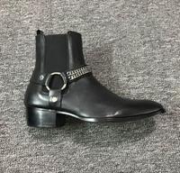 2018 FR. LANCELOT Siyah Hakiki Deri Toka Askı Zincirler Erkekler Chelsea Çizmeler Elastik band Pactchwork Ayak Bileği Ayakkabı Lüks Marka