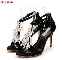 Vrouw sandalen zomer mode kristal bloemen ontwerp hoge hakken dunne peep toe zwart pompen vrouwelijke party show dress schoenen