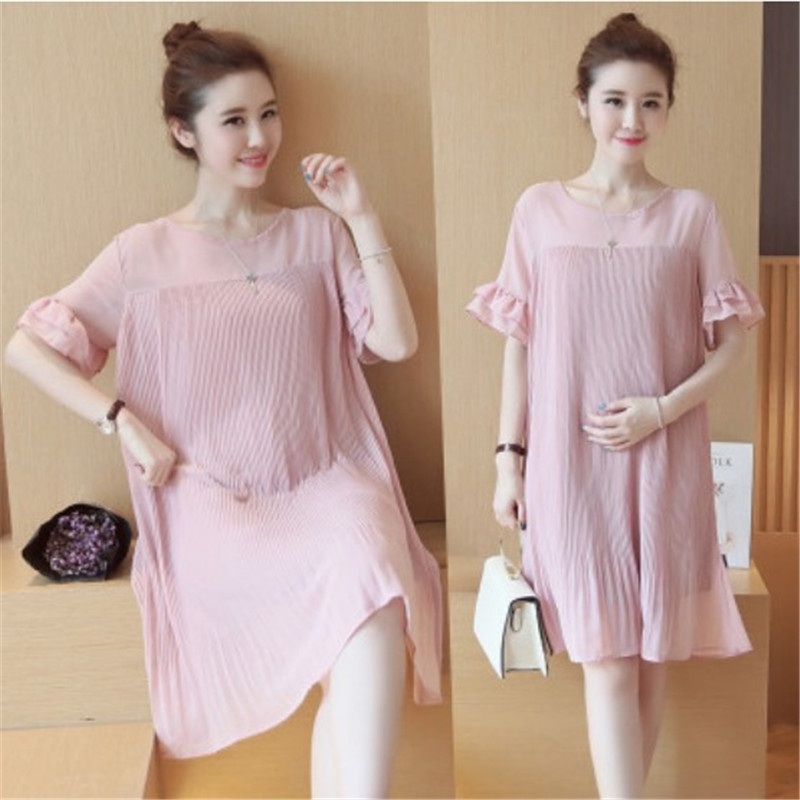 2017 summer new large temperament chiffon pregnant women skirt, Korean wind round neck short sleeve loose pregnant women dress