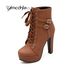MCCKLE 2016 Autumn Winter Women Ankle Boots high heels lace up leather double buckle platform short booties new black X0761