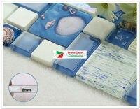 1BOX(11sheets) Brand New Blue and Cyan Glass mosaic tiles iridescent bathroom porcelain tiles sheet kitchen backsplash art deco