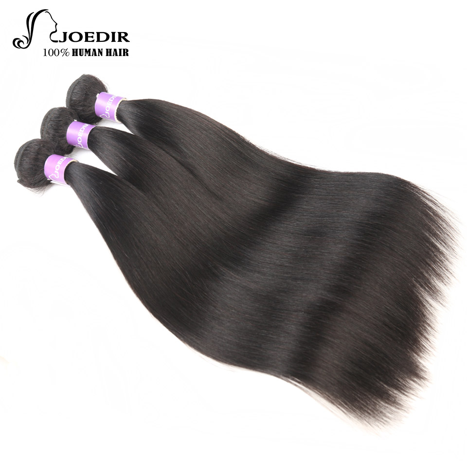 Joedir Hair Brazilian Straight Human Hair Extention 3 Bundles Deal Non-Remy Hair Weave Bundles Natural Color Free Shipping