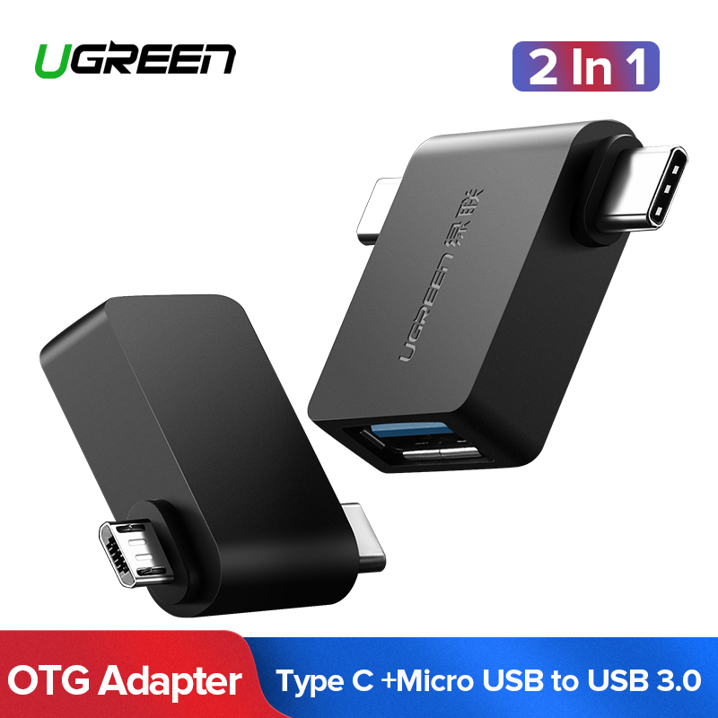 Ugreen OTG Cable Adapter 2 in 1 Micro USB Type C to USB 3.0 Adapter OTG Converter For Samsung Galaxy S10 S9 Mobile phone Adapter mini kompas sleutelhanger