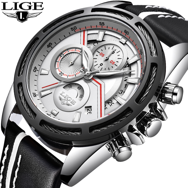 Reloje LIGE Men Watches Male Top Brand Luxury Waterproof Sports Watch Men Automatic Date Leather Quartz Clock Relogio Masculino