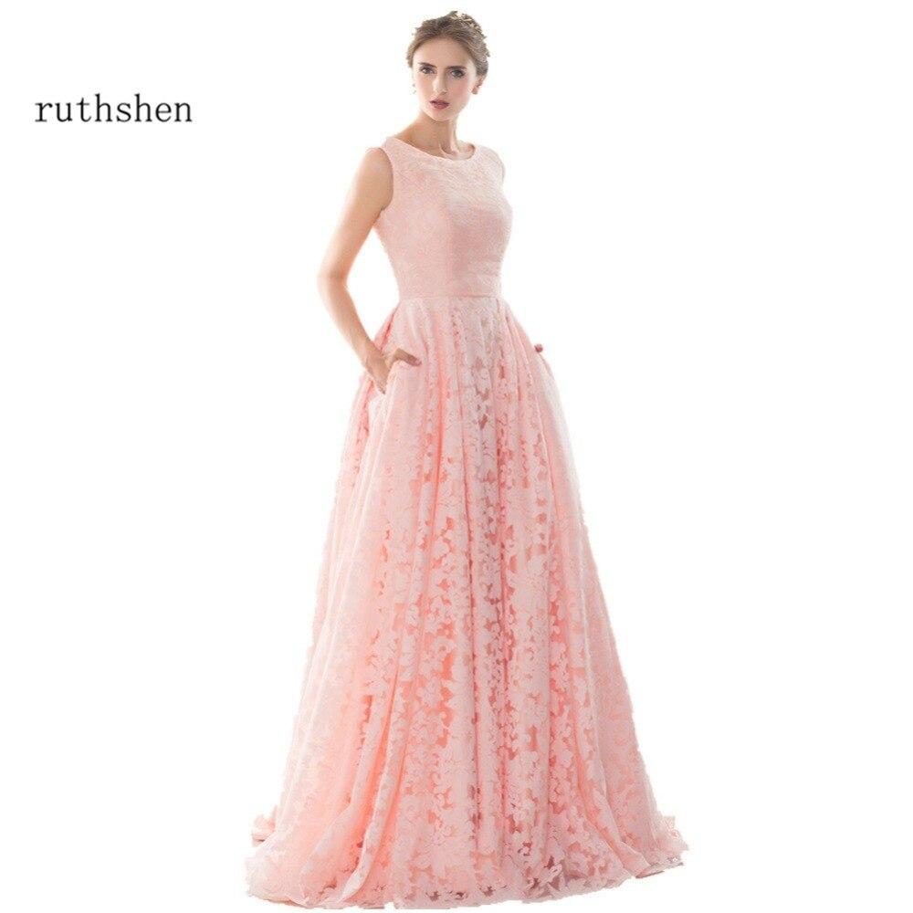 Robes De mariée en dentelle rose clair ruthéshen 2018 robes De mariée à lacets dos pas cher en Stock Photo réelle Vestidos De Novias De moins De 100