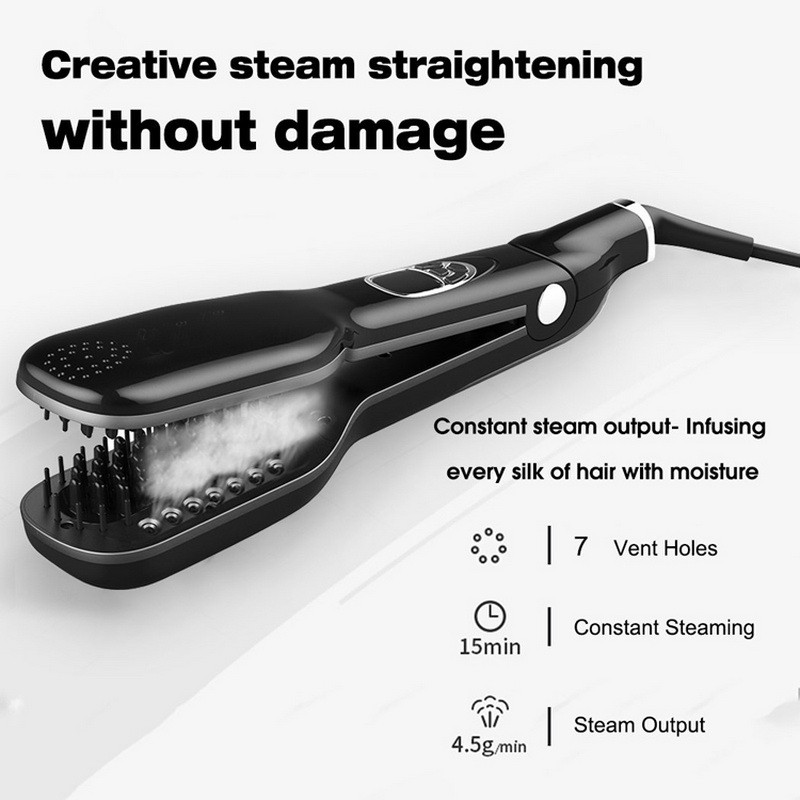Steam Moisturizing Hair Straightener Brush With LCD Display, Electric Ceramic Fast Comb Steam Hair Straightener все цены