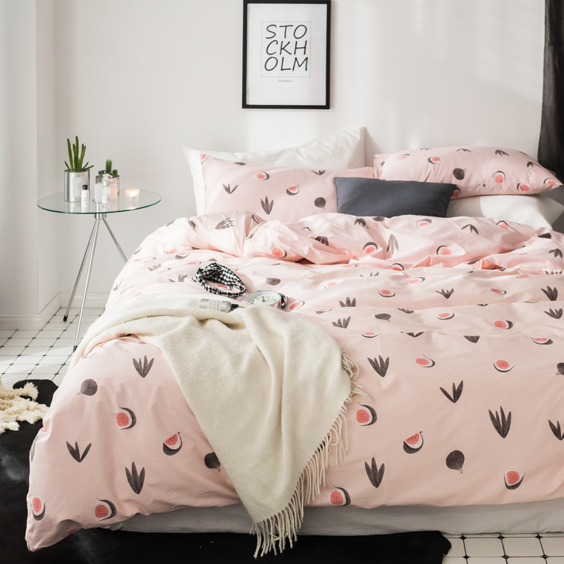 Home Textile 2018 Fruits Leaves Pink Bedding Set Cotton Fabric 3/4pcs Twin Queen King Size Duvet Cover Flat Sheet Pillow Cases Relieving Heat And Thirst. Bedding Sets