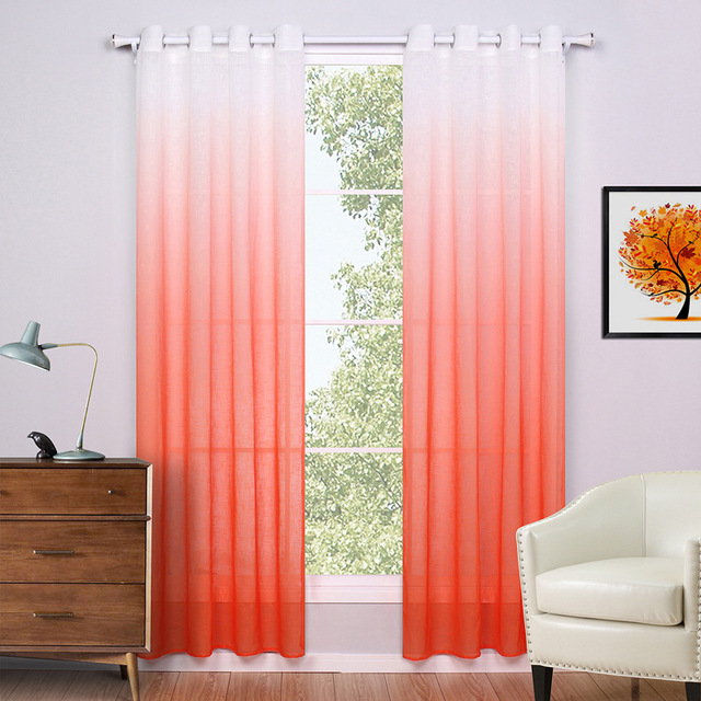 SunnyRain 1 Piece Linen White Gradient Curtain For Bedroom Sheer ...