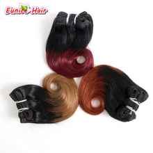 Лучшее качество волос кусок Омбре бразильские волнистые волосы# 1B/серые 8 ''волнистые короткие накладные волосы блонд для женской прически