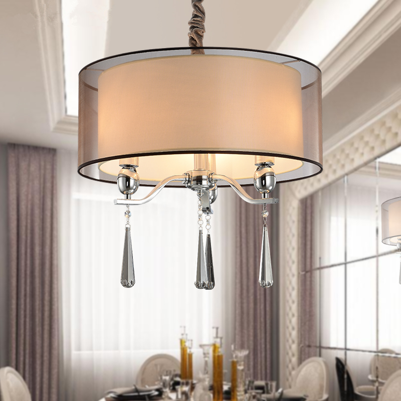 Modern Led Crystal Chandeliers Fabric Shade E27 3 Arms Dining Room  Chandelier Lighting Pendientes Lampadario Plafon