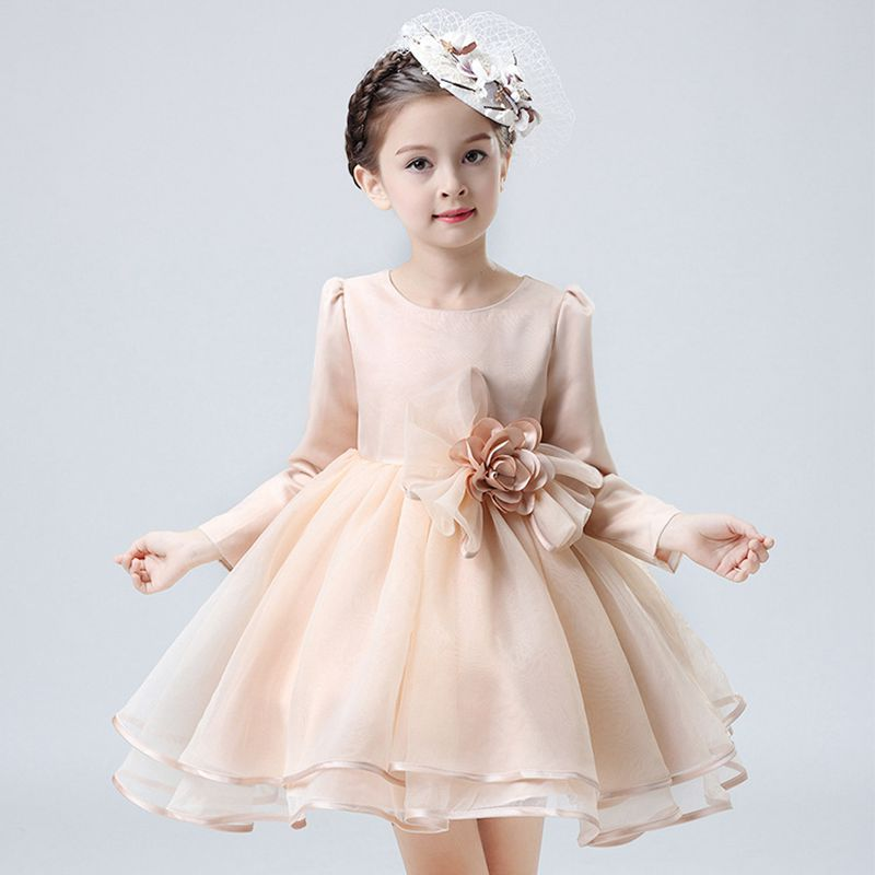 YNB Brand Long Sleeve Beige Girls Party Wedding Mesh Dress Size 6, 2017Solid Mini Children Floral Dress Girl, 3~11 Girsl Dresses