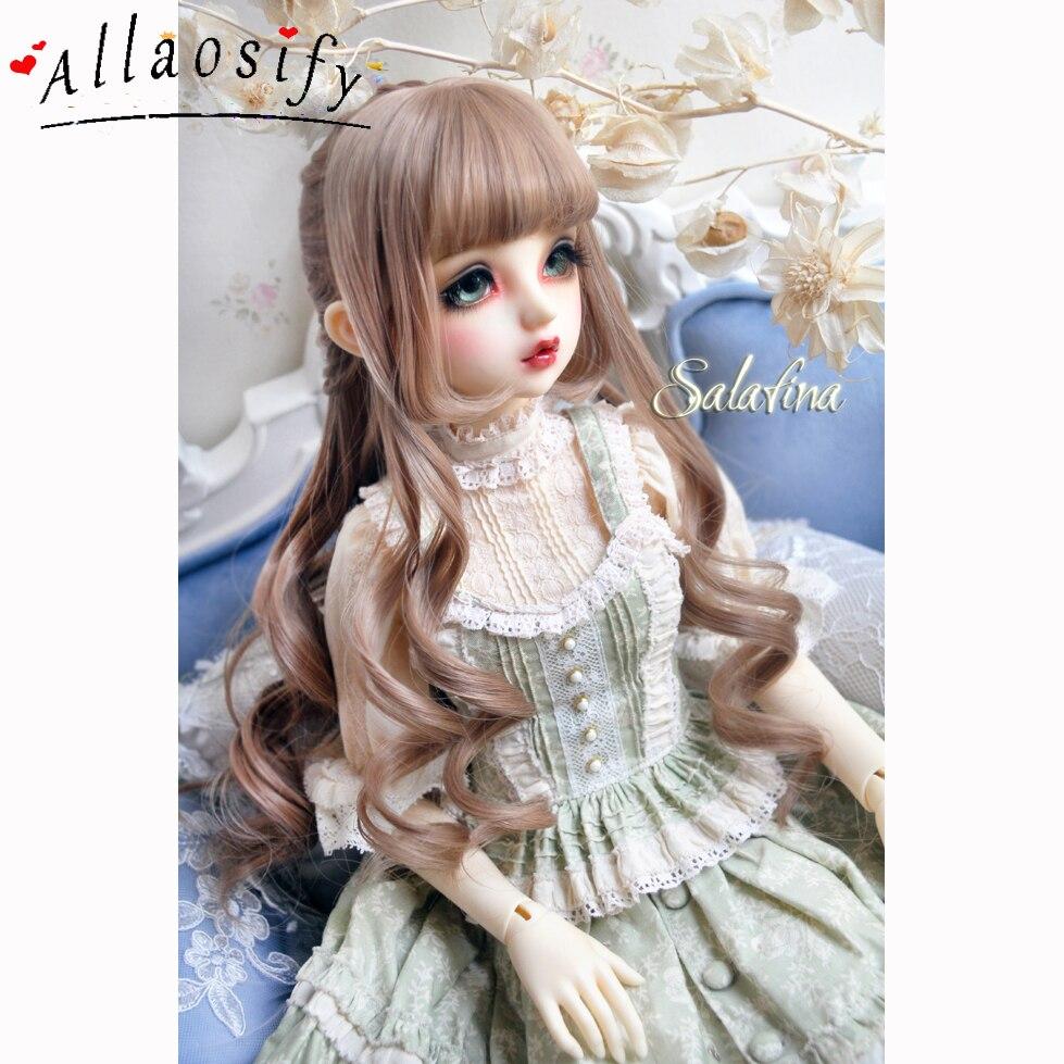 Allaosify 1 3 1 4 1 6 bjd doll wig high temperature silk wig brownish black
