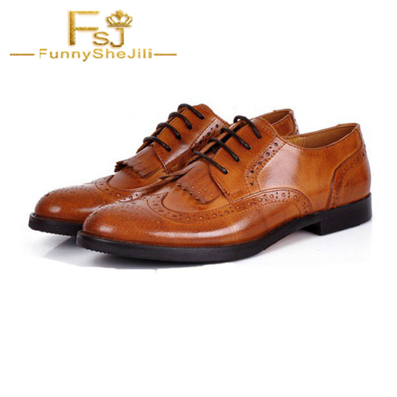 4741b90f56049 US $76.49 10% OFF| Women's Oxfords Brown Fringe Round Toe Flats Lace up  Vintage Shoes Lace Up Cross tied Spring Autumn Day FSJ Sexy Elegant-in  Women's ...