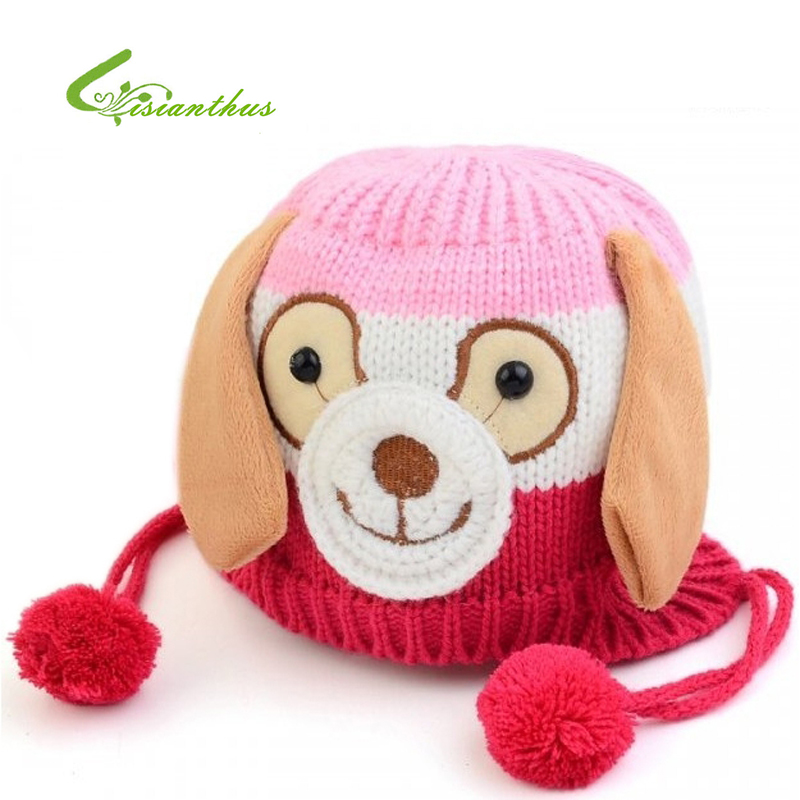 Free Shipping Animal Dog Shaped Knitted Baby Cap Boy Girl Winter Hat for Child to Keep Warm 5 colors Hats Chidren Gift Dropship