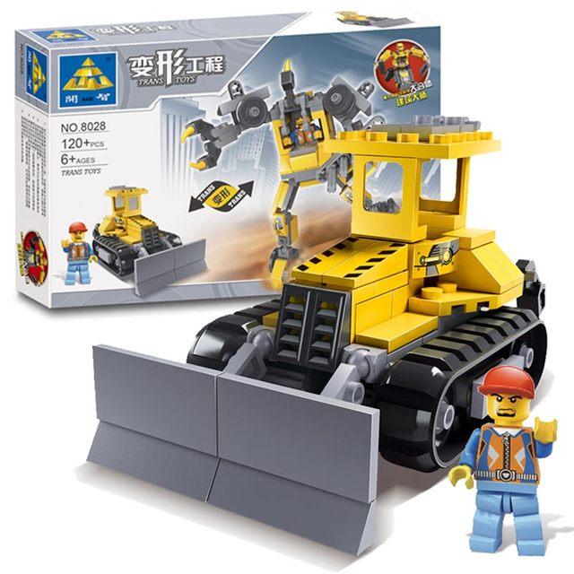Newest Original Box Kazi Brick Trans Toys City Bulldozer Engineering Vehicles Robot Model Building Blocks