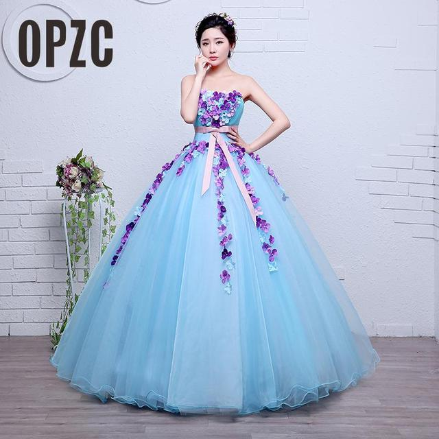 Real Photo Organza Blue Fashion Flowers Strapless Girls Wedding ...