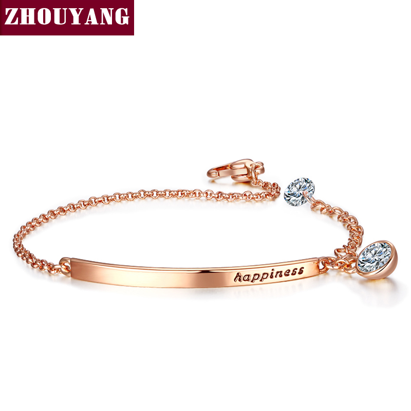 Top Quality ZYH195 OL Style Cubic Zirconia Rose Gold Color Bracelet Jewelry Austrian Crystal Wholesale