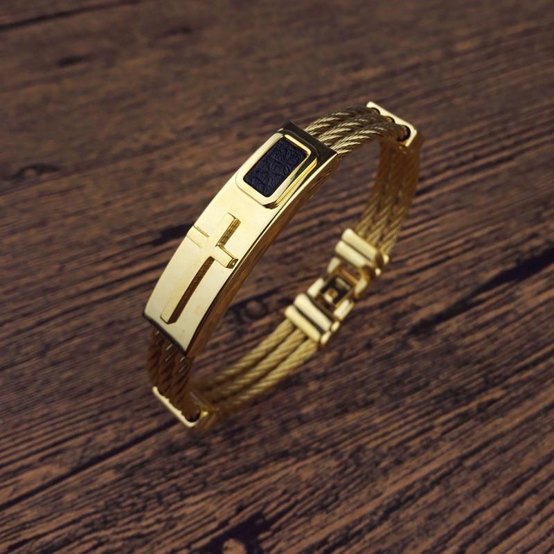 2018 New fashion Gold Jesus Cross Bracelet Men Jewelry Stainless Steel Mens  Rock Bracelets   Bangles Leather Pulseira Masculina-in Hologram Bracelets  from ... 199638a68e27