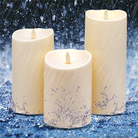 3pcs Outdoor Flameless LED Candle Plastic Unscented Moving Flame Waterproof Candle Light Lamp for Home Wedding Party Bar Decor