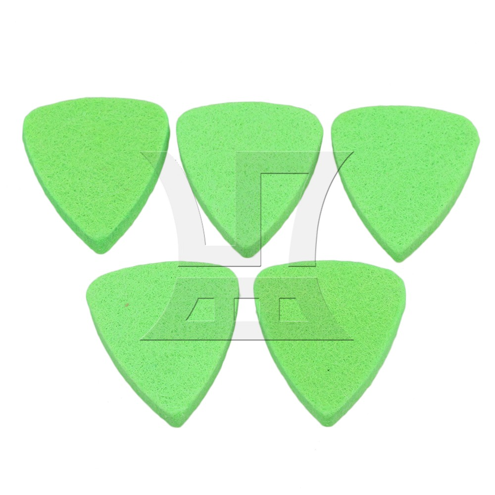 Yibuy 3x2.5cm Green Guitar Felt Picks Soft Plectrums for Ukulele & Bass Pack of 5