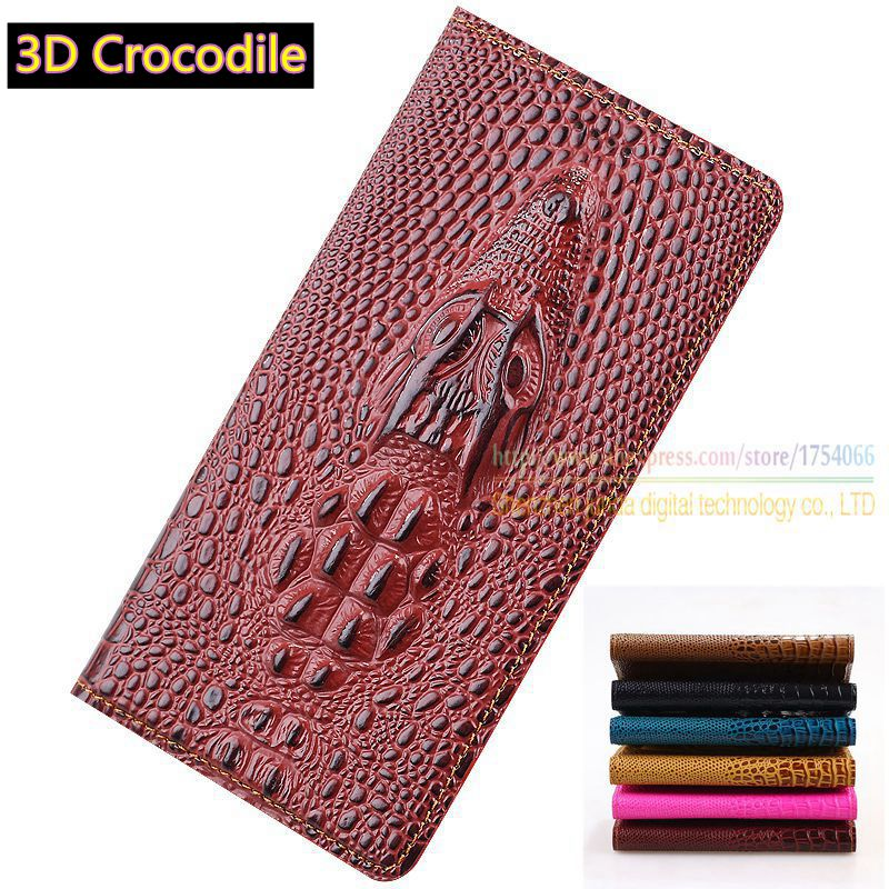 Top Genuine Leather Flip Stand Luxury Card Case 3D Crocodile Grain Luxury Phone Bag Cover For