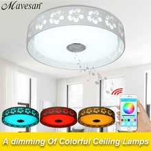 2016 New RGB Dimmable 36W LED ceiling Light with Bluetooth & Music 90-260V modern Led ceiling lamp for 15 -30 Square meters