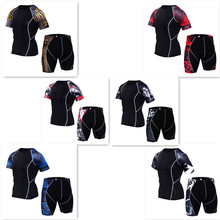 Summer Men Sportswear Sweatsuit Elastic Compression Tights Short Sleeve Swearshirt  Running Jogger Fitness Outfit Gym Clothing