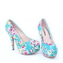 Women Party Wedding Shoes Platform Stiletto Ladies Sexy Flower High Heel Shoes Vintage Floral Bridal Pump Shoes red blue