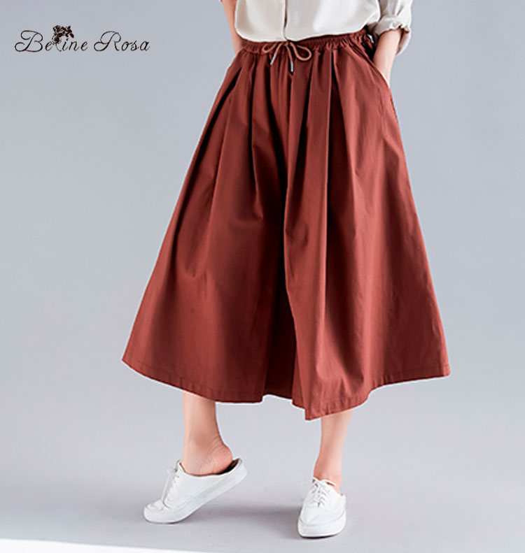 BelineRosa Big Sizes Women   Pants   Elastic Waist Calf-Length   Pants     Wide     Leg     Pants   Casual Plus Size Women Clothing TYW00969