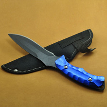 Mini Blue Outdoor Camping Survive Fixed Blade Knives Stainless Steel Tactical Pocket Knife + Nylon Sheath